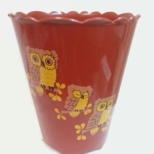 Vintage Trash Waste Can Kitschy Owl Home Decor